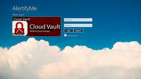 AlertifyMe Cloud Vault Main Screen