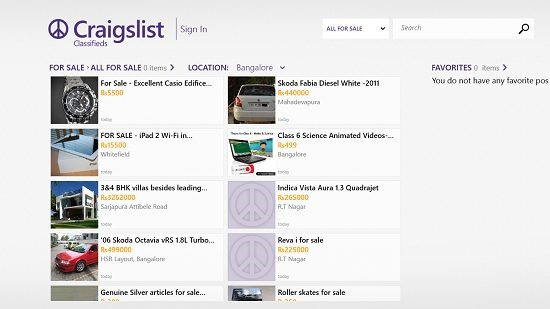Craigslist Classifieds main screen