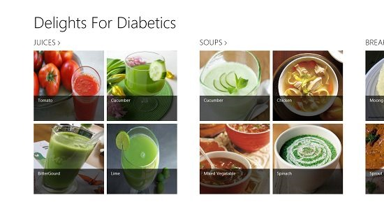 Delights For Diabetics Main Screen