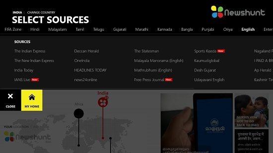 NewsHunt Select News Source