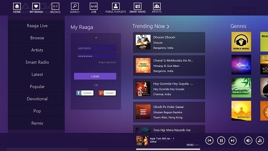 Raaga Playback Controls, Control Bar