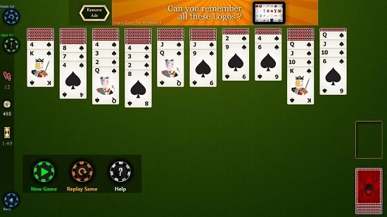 Spider Solitaire HD game options
