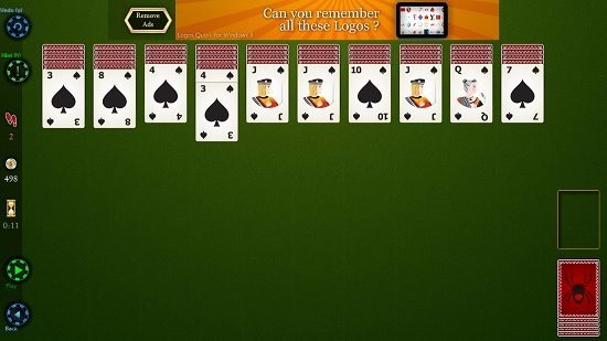 Spider Solitaire HD gameplay screen