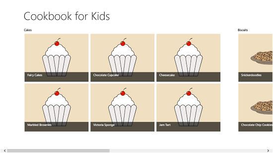 Cookbook for Kids main screen