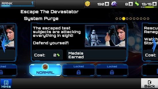 Star Wars Assault Team Mission Selection screen