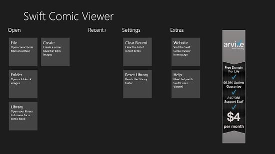 Swift Comic Viewer main screen