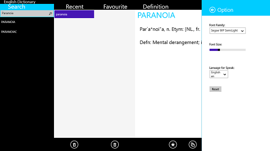 English Dictionary app settings