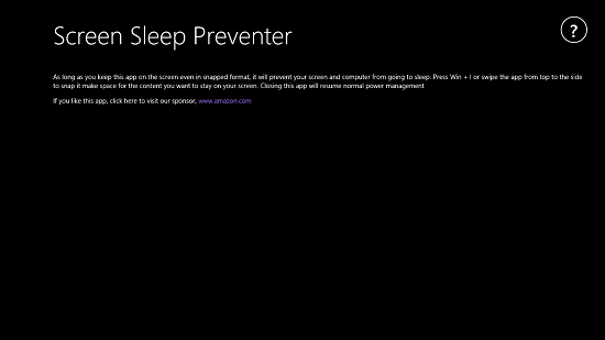 Screen Sleep Preventer Main Screen