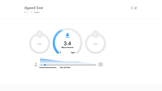 iSpeed Test download speed test running