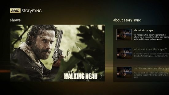 AMC Story Sync main screen