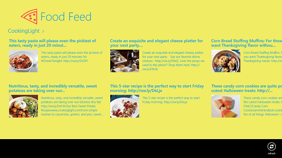 Food Feed main screen