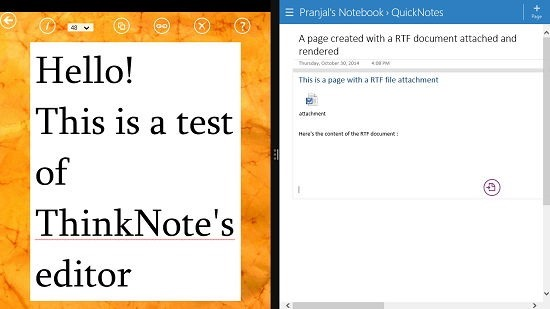 ThinkNote content synced to OneNote