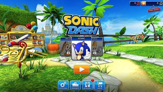 Sonic Dash Main Screen