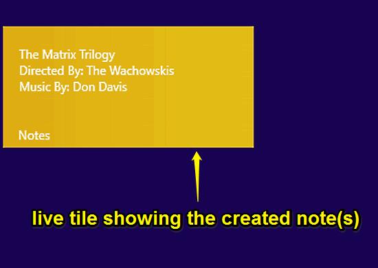 notes live tile