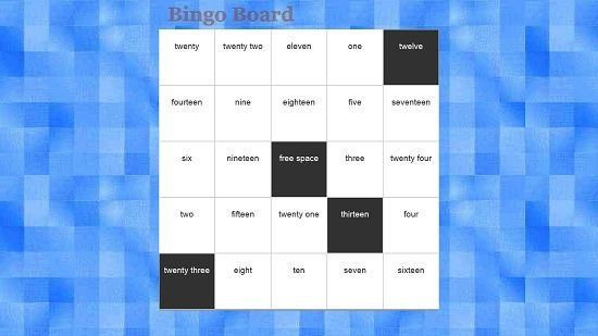 Bingo Board Gameplay