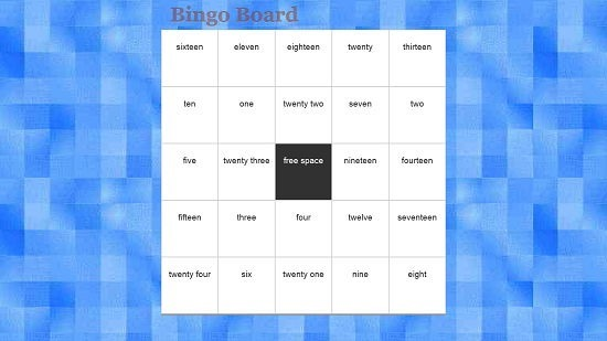 Bingo Board Main Screen