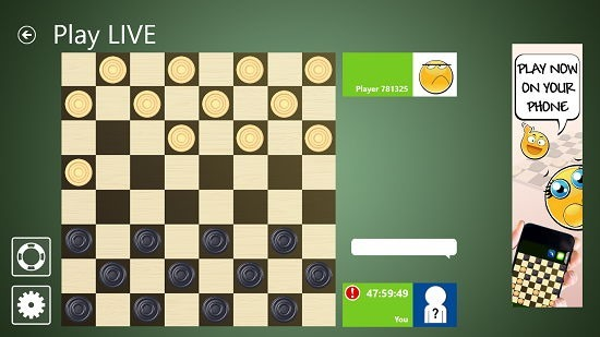 Checkers Live online gameplay