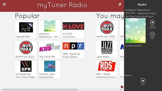 myTuner Radio internet radio playback