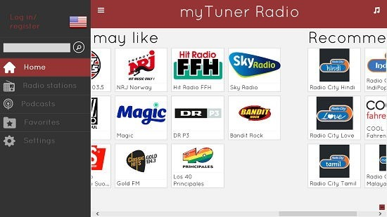 myTuner Radio menu options