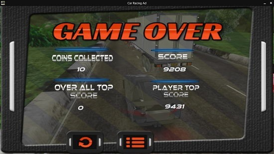 Car Racing Adventure Game Over