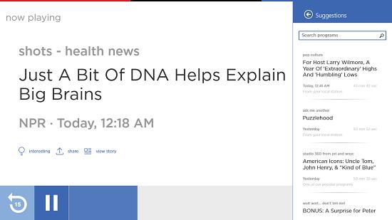 NPR One suggestions bar