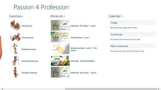 Passion 4 Profession menus