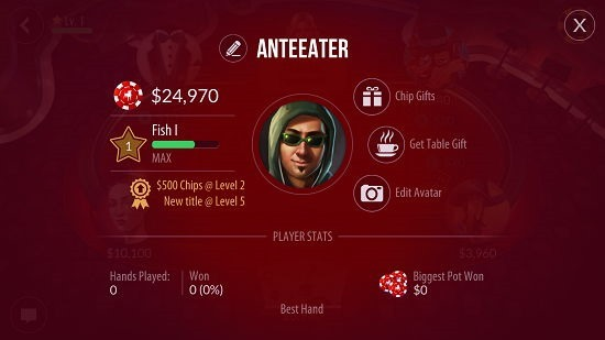 Zynga Poker - Texas Holdem game stats