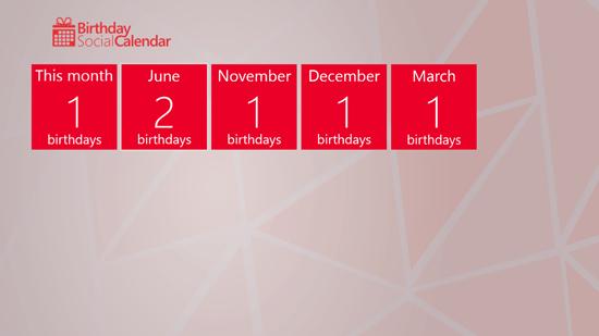 Birthday Social Calendar