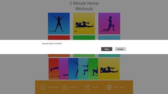 5 minute home workouts main screen select gender