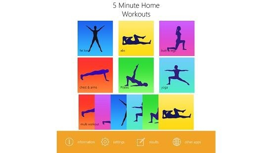 5 minute home workouts select workout type