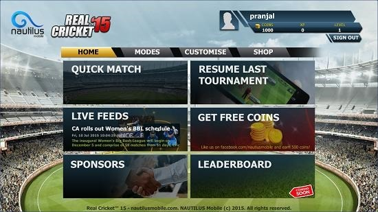Real Cricket 15 main menu
