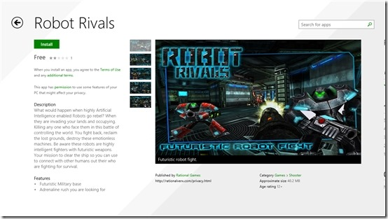 Free Shooting Game for Windows 8: Robot Rivals