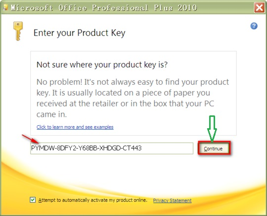 how to activate MS Office 2010