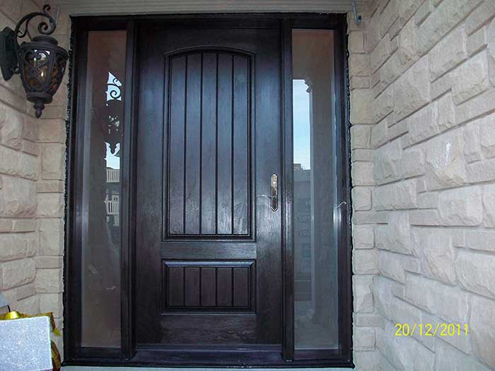 Front Entry DoorFiberglass Rustic Solid Door Woodgrain