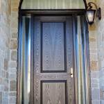 Modern Doors Front Entry Doors Fiberglass Doors Woodgrain Door Woodgrain Door Single Solid Front Door With 2 Frosted Side Lites And Matching Arch Transom Installed In Etobicoke Ontario