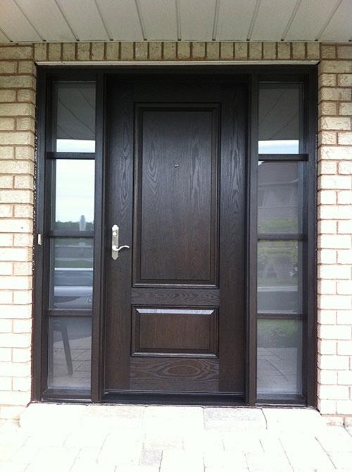 Woodgrain Exterior DoorsWoodgrain doorsFront Entry DoorsWood Grain Solid Door with Frosted