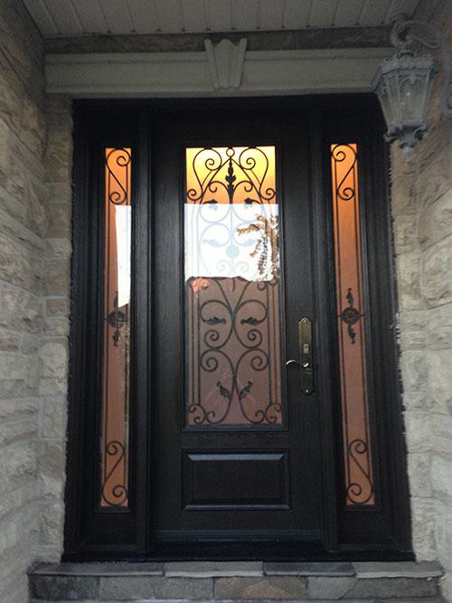 Woodgrain Exterior DoorsWoodgrain doorsFront Entry DoorsWrought Iron Fiberglass Door