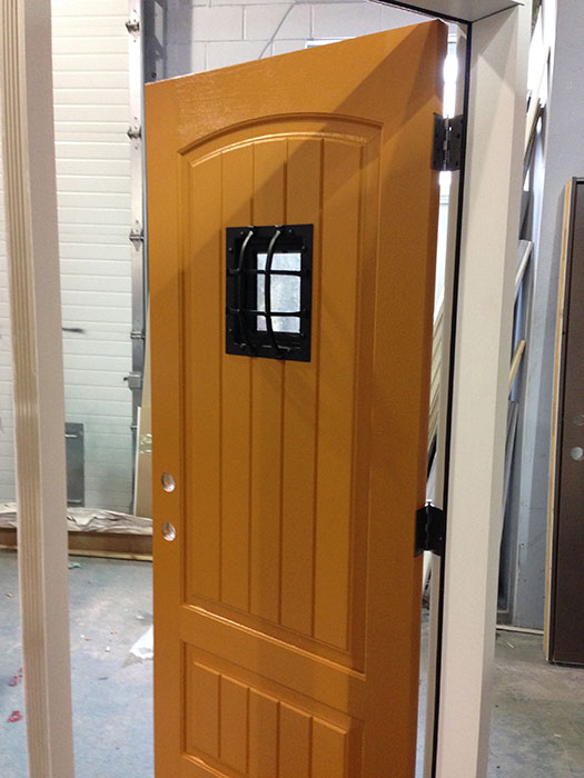 Fiberglass Rustic DoorFront Entry Door with Easyspeak