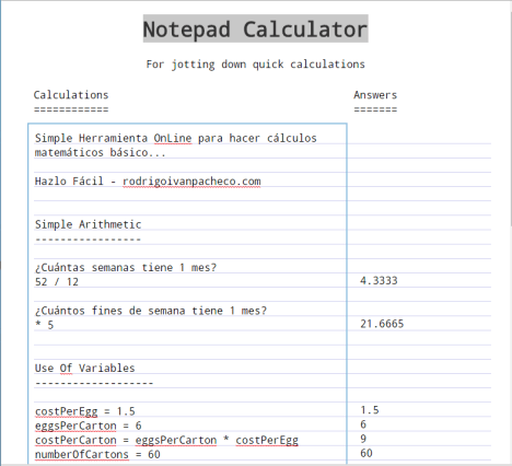 Notepad Calculator Online Gratis