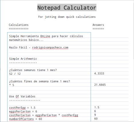 Notepad Calculator Online Gratis