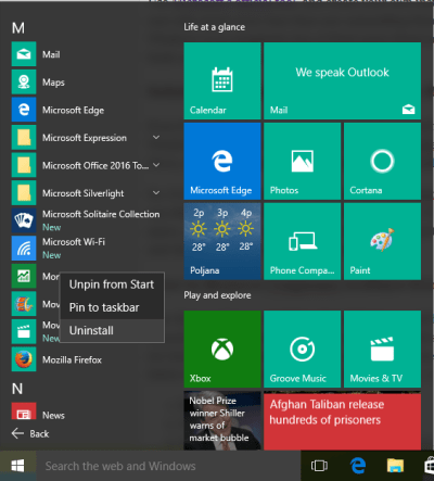 Desinatalar aplicaciones en Windows 10