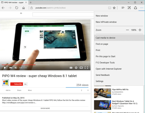 Microsoft Edge con Cast Media tu Device