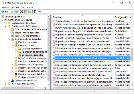 Nombre de usuario en Windows 10