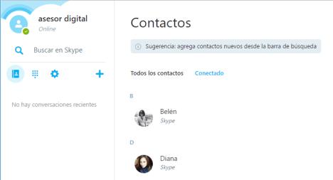 Lista de Contactos en Skype Web