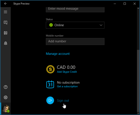 Skype para Windows 10 version previa