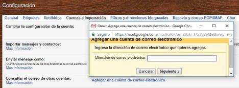 agregar otra cuenta de email en gmail