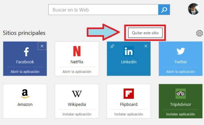 Fijar un sitio web en Microsoft Edge