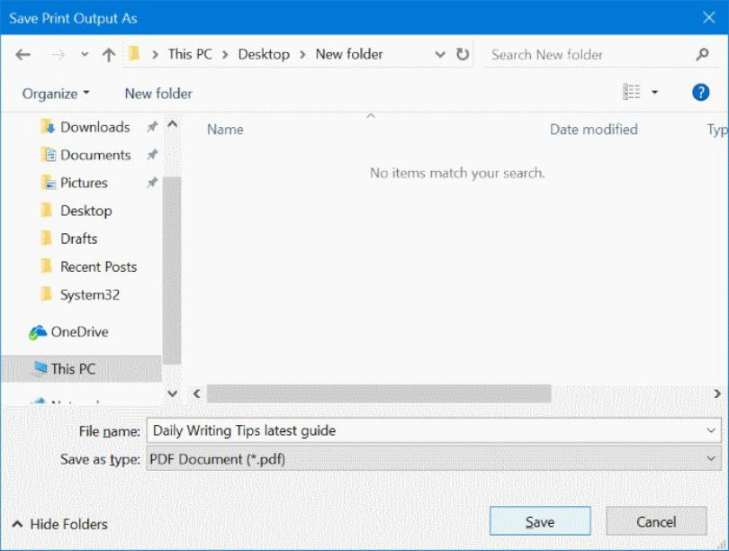 Windows 10 Mail email a PDF