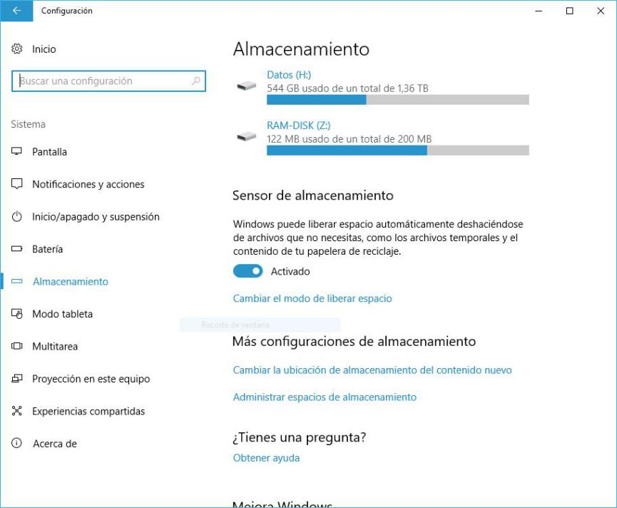 Liberar espacio en Windows 10