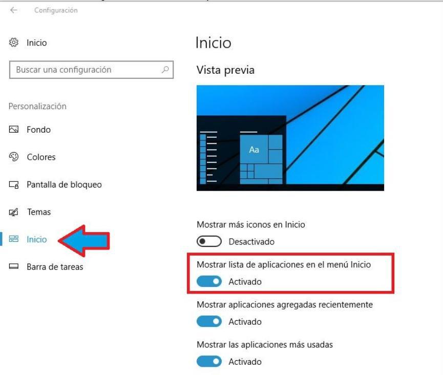 ocultar Lista de Aplicaciones en Windows 10